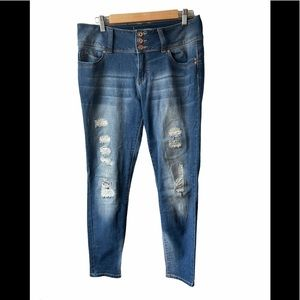 3/$30 Skinny distressed 3 button jeans